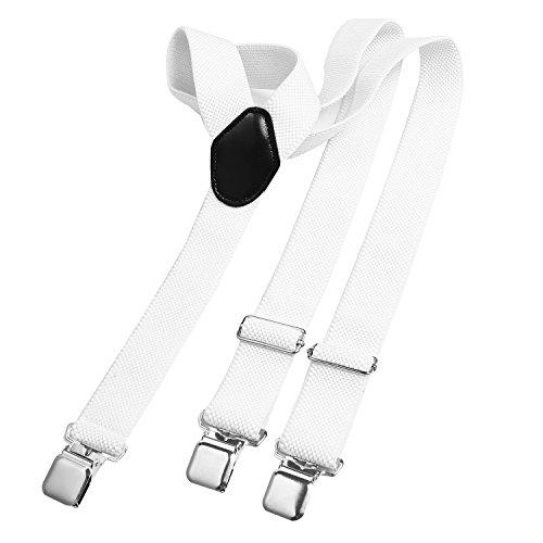 Bretelle DonDon uomo larghe 3,8 cm - 3 clips a y resistenti - elastiche con regolabili - bianche