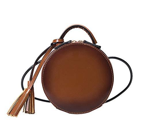 3e46d19ce882a JUND 2018 Retro Mode Metallgriff Handtasche Nieten Leder Umhängetasche  Trendy Freizeit Rund Messenger Bag