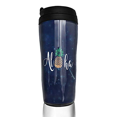 Qurbet Kaffeebecher Thermobecher mit Schraubdeckel, Hawaii Pineapple Aloha Curved Coffee Cup Travel Mug 12 Oz