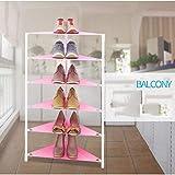 XQY Zuhause Schuhregal, Studentenwohnheim Einfache Schuhregal , 5-Tier-Kunststoff-Dreieck Montage Einfache und Moderne Ecke Schlafzimmer Balkon