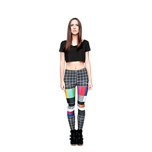 Kostüm Fitness Zumba - Hanessa Frauen Leggins Bedruckte Leggings Hose Frühling Sommer Kleidung Fernseh Test-Bild L96
