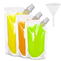 Boerni 30 Pack Plastic Drinks Flasks, Food-Grade Drink Pouch with 3 Pcs Funnels for Party Halloween Christmas Beverage(250ml,420ml,500ml)
