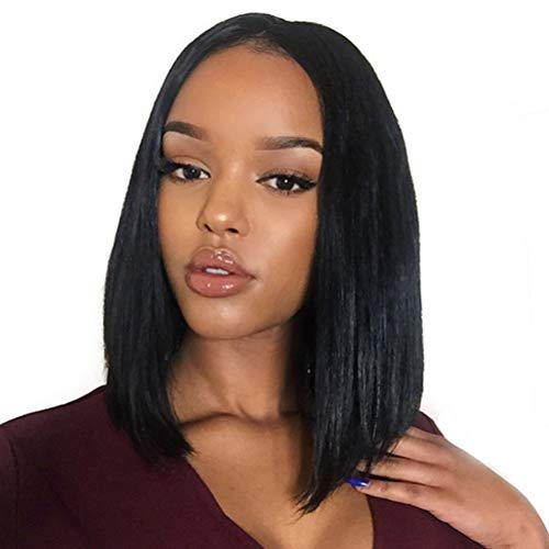 YUI 45cm Glattes Human Wig for Black Women,Short Bob Lace Front Wig Echthaar Perücke Brasilianische Haare Glatt Naturschwarz (Milieu Part), Black