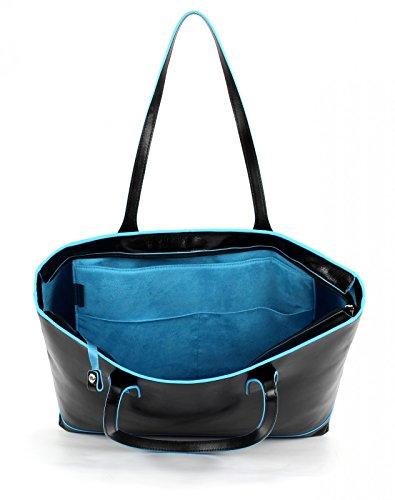 Piquadro Blue Square borsa tote pelle 35 cm Nero (Nero)