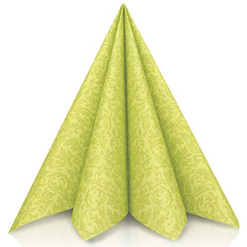 GRUBly Servietten GRÜN | Tissue-Servietten [50 Stück] | Grüne Servietten, Tischdekoration, ideal für Ostern, Geburtstag, Hochzeit & Grillparty | 3-lagige Premium Qualität | 40x40cm | 1/4 Falz Serviette