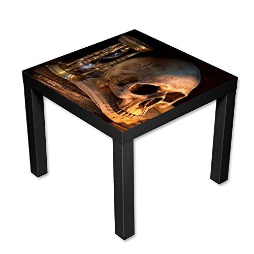 Nachttisch Gothic (Couchtisch Beistelltisch schwarz Motiv Totenkopf Länge 55 cm - Breite 55 cm - Höhe 45cm)