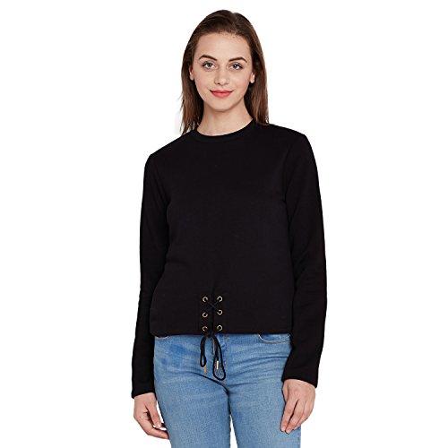 Femella Women's Black Eyelet Detail Sweatshirt