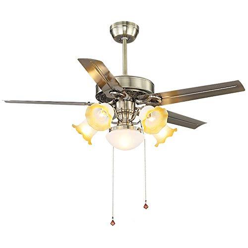 DuDuDu Restaurante 52 pulgadas ventilador de techo luz ventilador americano luz salón...