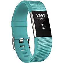 Fitbit Charge 2 - Pulsera de actividad física y ritmo cardiaco unisex, color turquesa, talla S