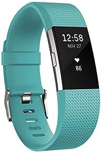 Fitbit Standard Charge 2 Unisex Armband Zur Herzfrequenz Und Fitnessaufzeichnung, Teal, S, FB407STES-EU