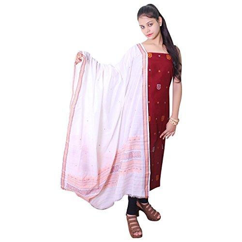 kadambini saree Sambalpuri handwoven pure cotton Unstitched salwar kameez dress material (Red...