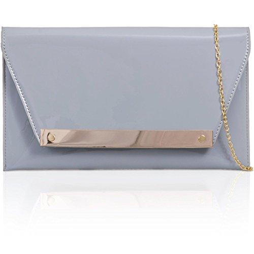 xardi London FLAT Patent Donna Clutch in pelle sintetica borsa da sera Prom Sposa Grey