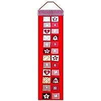 Long Hanging Christmas Advent Calendar Countdown Decor Fabric Pockets Xmas Decoration