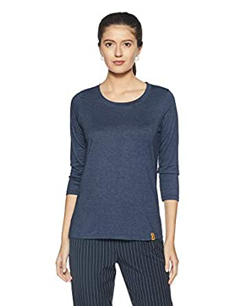 Campus Sutra Women's Solid T-Shirt (SS16MEL_RNQS_W_PLN_DN_Denim_Small)