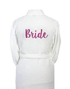 TowelsRus Bride Waffle Kimono Bathrobe, Small, 100% Natural Cotton, 330gsm