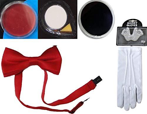 ults Clown Partyzubeh�r Rote Fliege Schwarz Rot Wei� Gesichtsbemalung Handschuhe 5-TLG. Set One Size ()