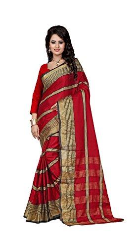 The Fashion Outlets Women's Cotton Silk Zari Jacquard Sarees(Free Size_Red)