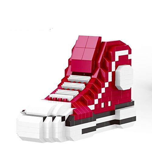 slyqc Puzzle Miniature Diamant Chaussures Hautes Blocs de Construction Jouet Rouge