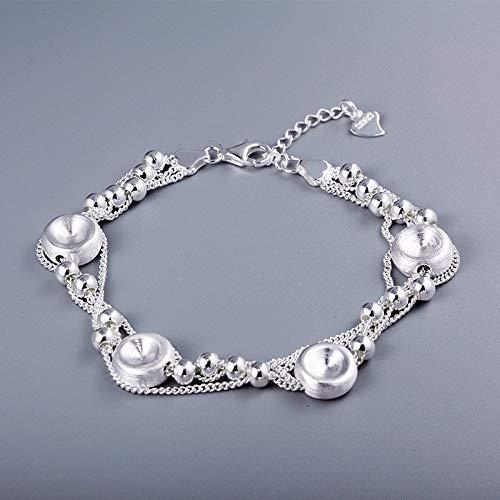E-H Weibliche Runde Kette Armband Sterling Silber S925 Armband Weibliche Unregelmäßige Kugel Bongo Ethnischen Schmuck Vielseitig Klein Klar