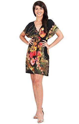 KOH KOH® Damen Petite Minikleid Kurze Ärmeln Kimono V-Ausschnitt Gebuntes Blumenprint, Farbe Schwarz, Größe S / Small (1) (Die Mittelalterlichen Kostüme Der Frauen)