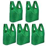 5 bolsas de supermercado reutilizables | Bolsa de compras plegable | Portador Plegable Con Bolsa | Bolso de supermercado ecológico | Soportan hasta 22kg | Pukkr