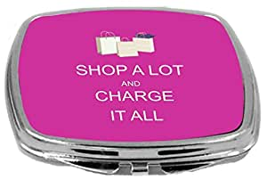 Rikki Knight Compact Mirror, Shop A Lot And Charge It All Pink Rose