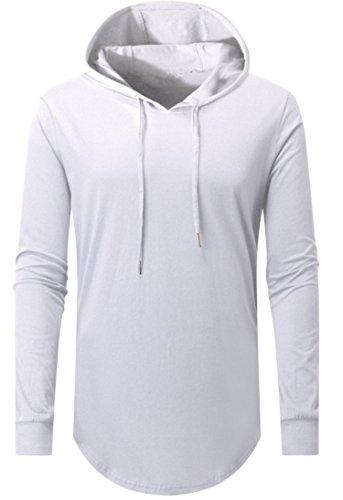 AIYINO Herren Kurzarm/Langarm Hoodie T-Shirt 100% Baumwolle Kapuzenshirt