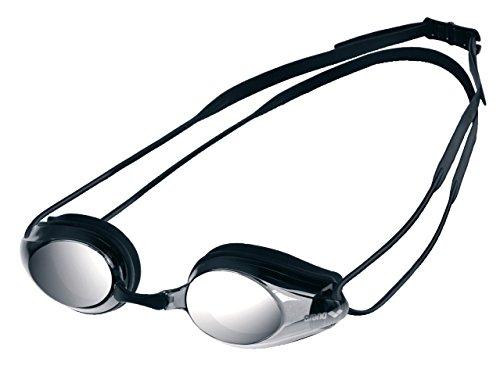 arena Unisex Training Wettkampf Profi Schwimmbrille Tracks (Verspiegelt, UV-Schutz, Anti-Fog Beschichtung), Black-Smoke Silver-Black (55), One Size