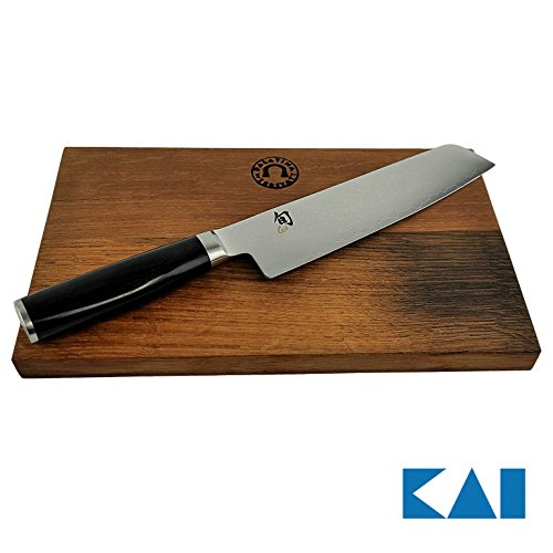 Kai Shun Premier Tim Mälzer | Bundle | Minamo TMM-0702, ultrascharfes Santoku Messer | 18 cm Klinge aus Damaststahl | + massives Schneidebrett aus altem Fassholz (Eiche) 30x18 | VK: 315,- € (Shun Premier Fleisch)