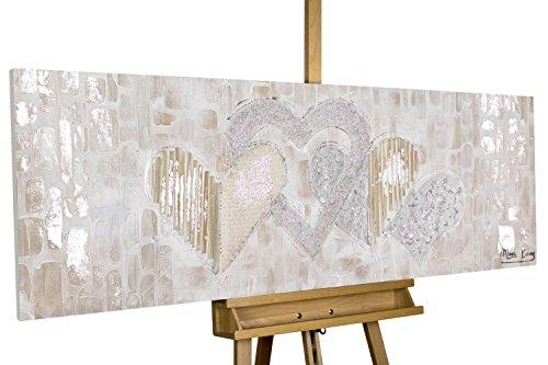 Herz Leinwand (KunstLoft® Acryl-Gemälde 'Simply Love' 150x50cm | original handgemalte Leinwand Bilder XXL | Herz Gold Lila Liebe | Wandbild Acrylbild Moderne Kunst einteilig mit Rahmen)