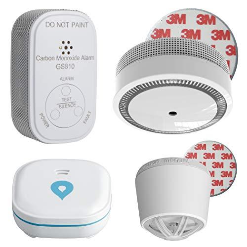 SEBSON Mini Rauchwarnmelder Set mit Magnet, Hitzemelder, Wassermelder und CO Melder, 10 Jahres Lithium Batterie, Rauchmelder EN14604 VdS3131 Q Siegel
