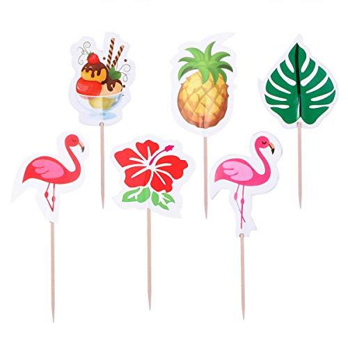 Hawaii Thema Cartoon Kuchendeckel Flamingo Ananas Kuchen Picks Cupcake Decor Party Supplies für Hochzeit Geburtstag Festival ()