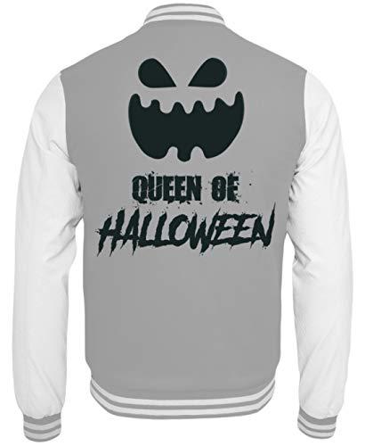 Queen of Halloween - Kürbis - Pumpkin - Happy Gift Idea - Fun Gag - College Sweatjacke -XL-Grau-Weiss