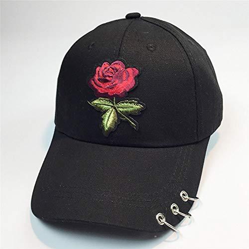 JJJRMP Frauen Baseballmützen Sommer Blumenmädchen Rose Hysteresenhut Hip Hop Flat Hat Weibliche BaumwollmischungCasual - Tourist Kostüm Weiblich
