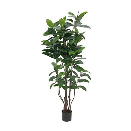 artplants – Künstlicher Gummibaum mit 145 Blättern, 9-stämmig, 150 cm – Kunst Zimmerpflanze/Deko Baum