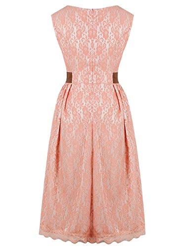 E-Girl M119418D Robe de bal Vintage pin-up 50's Rockabilly robe de soirée cocktail,S-XXXXL Rose