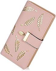 Lorna Women's Wallet Hollow Leaf Pattern Bifold Leather Lady Long Wallet Purse Coin Button Clutch Bag Blac