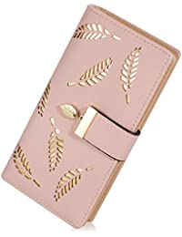 Lorna Women's Wallet Hollow Leaf Pattern Bifold Leather Lady Long Wallet Purse Coin Button Clutch Bag Black/Blue/Beige/Brown