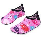 L-RUN Wasserschuhe für Kleinkinder Unisex Aqua Schuhe für Dance Fitness Pink_Red 2-2.5 = EU 34-35