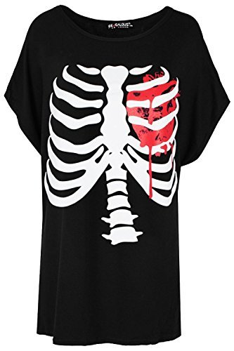 Be Jealous Damen Lagenlook Halloween Skelett Herz Fledermausärmel überdimensional Baggy T-Shirt Top UK Übergröße 8-22 - Schwarz, Plus Size (UK 16/18) (Size-halloween-t-shirts Plus)