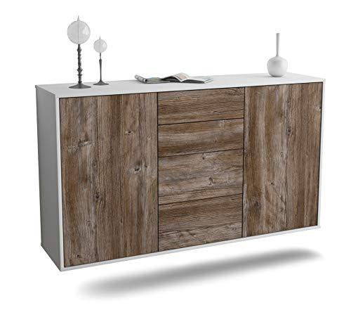 Dekati Sideboard Corona hängend (136x77x35cm) Korpus Weiss matt | Front Holz-Design Treibholz | Push-to-Open | Leichtlaufschienen