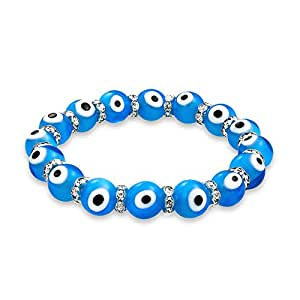 Evil Eye Beads Blue Crystal Stretch Bracelet