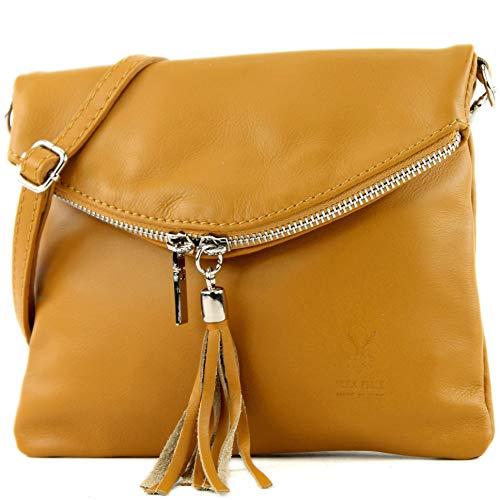 Leder Mini Handtasche (modamoda de - T139 - ital Umhängetasche Klein aus Nappaleder, Farbe:Senfgelb)