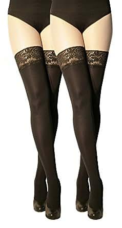 Marilyn blickdichte halterlose Strümpfe mit 9 cm Spitze, 100 Denier, Größe 36/38 (S/M), Farbe je 2x Schwarz (nero)