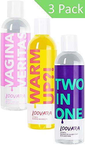 Loovara Vorteilspack Love Mix - Gleitgel und Massageöl im günstigen 3er Set, pflegendes Gel und Öl im Bundle | pflegende und natürliche Inhaltsstoffe | für das Vorspiel, Sex und Sexspielzeug geeignet