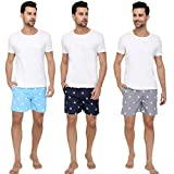 The Cotton Company Men's Cotton Sailboat Boxer Shorts (Multicolour, Medium) Pack of 3