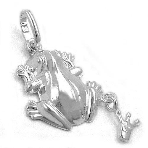 Ciondolo rana con corona in vero argento 925lucido 15x 13mm argento ciondolo