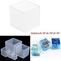 Cuigu Cube Silicona moldes DIY creación de Joyas Herramienta Resina Colada Molde Herramienta Craft, Transparente, 2cmx2cmx2cm/0.79''x0.79''x0.79''