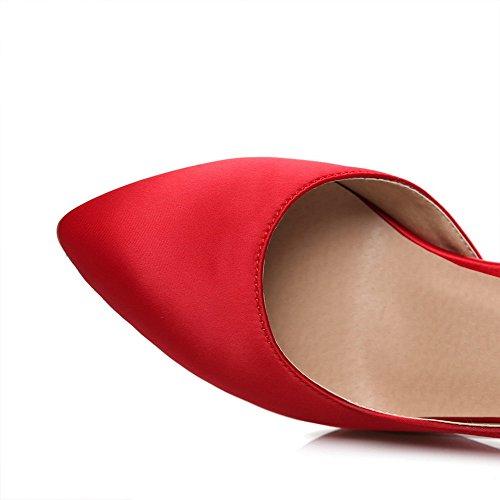 AgooLar Femme Couleur Unie Stylet Pu Cuir Pointu Tire Chaussures Légeres Rouge