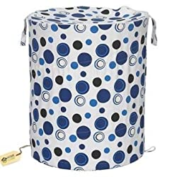 HOME CUBE® Multipurpose Foldable & Collapsible Pop-Up Round Laundry Bag Basket with Zippered Lid and Carry Handle (Random Colors and Patterns)